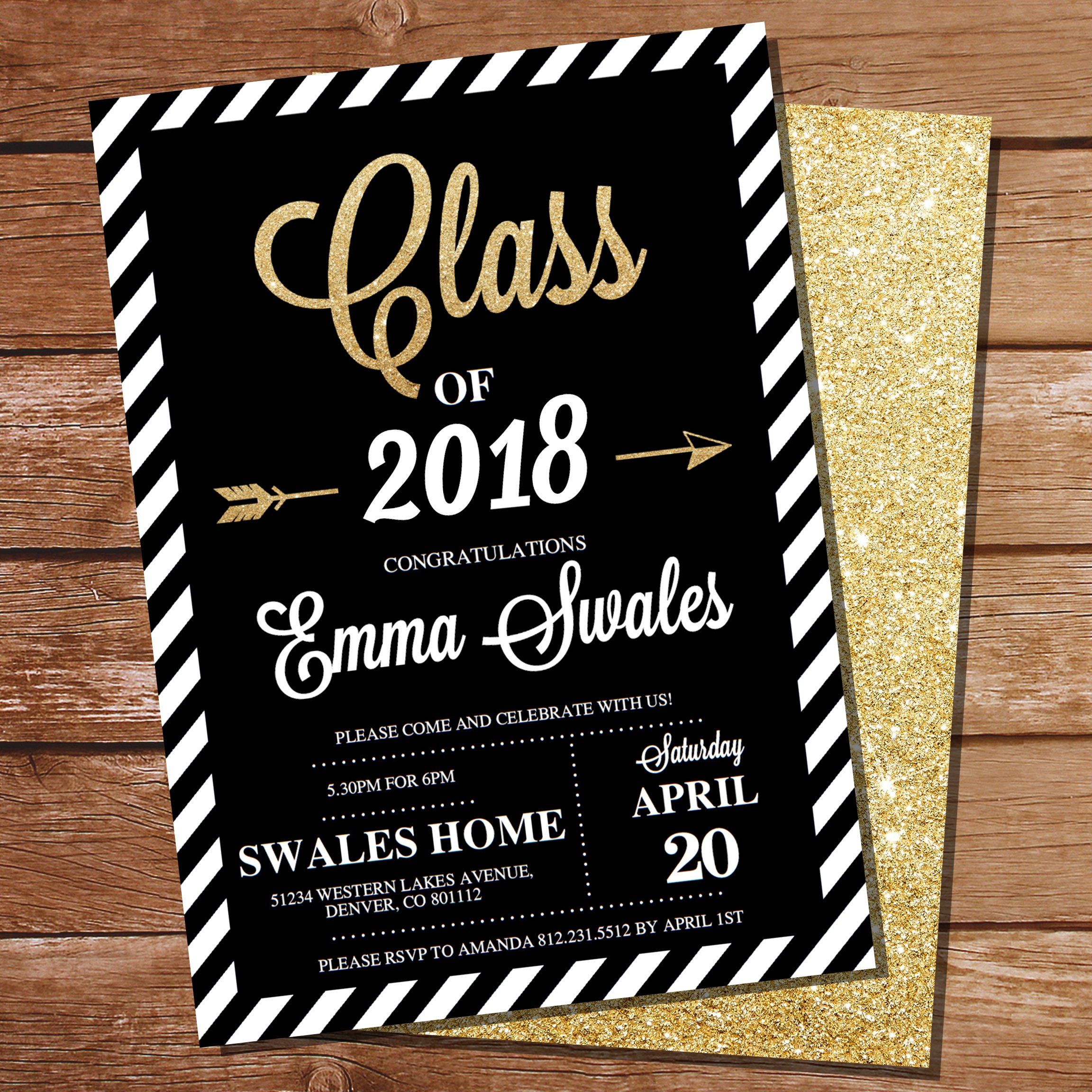 create this beautiful, bold, black and gold graduation set-up for