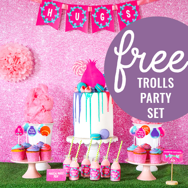 a happy pink trolls party set for free download