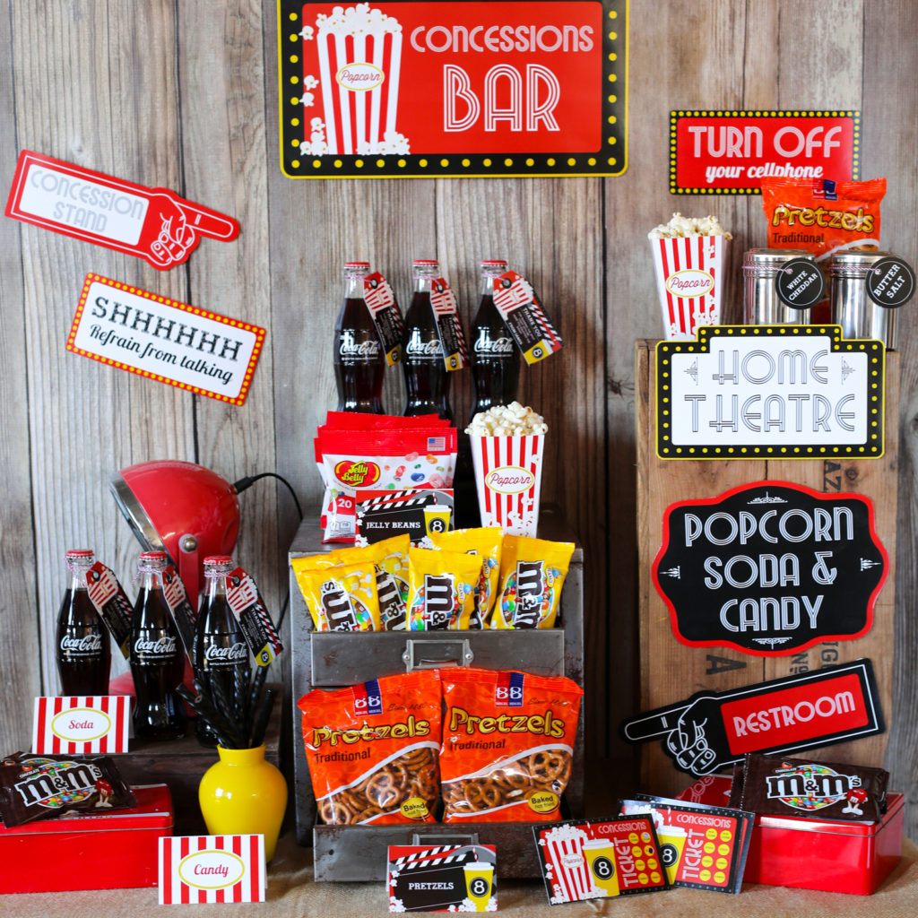 Concession Stand For Theater Room With Images: Home Movie Concession Stand Editable Party Set Up