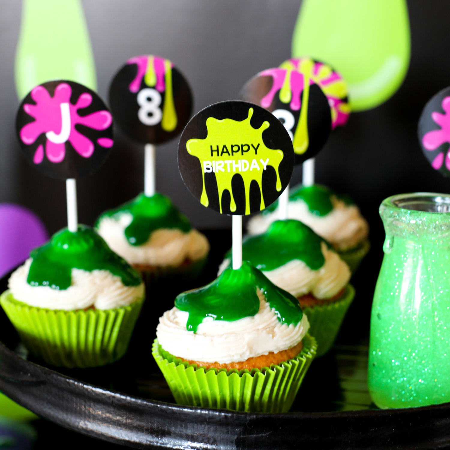 Slime Party Cupcake Topper