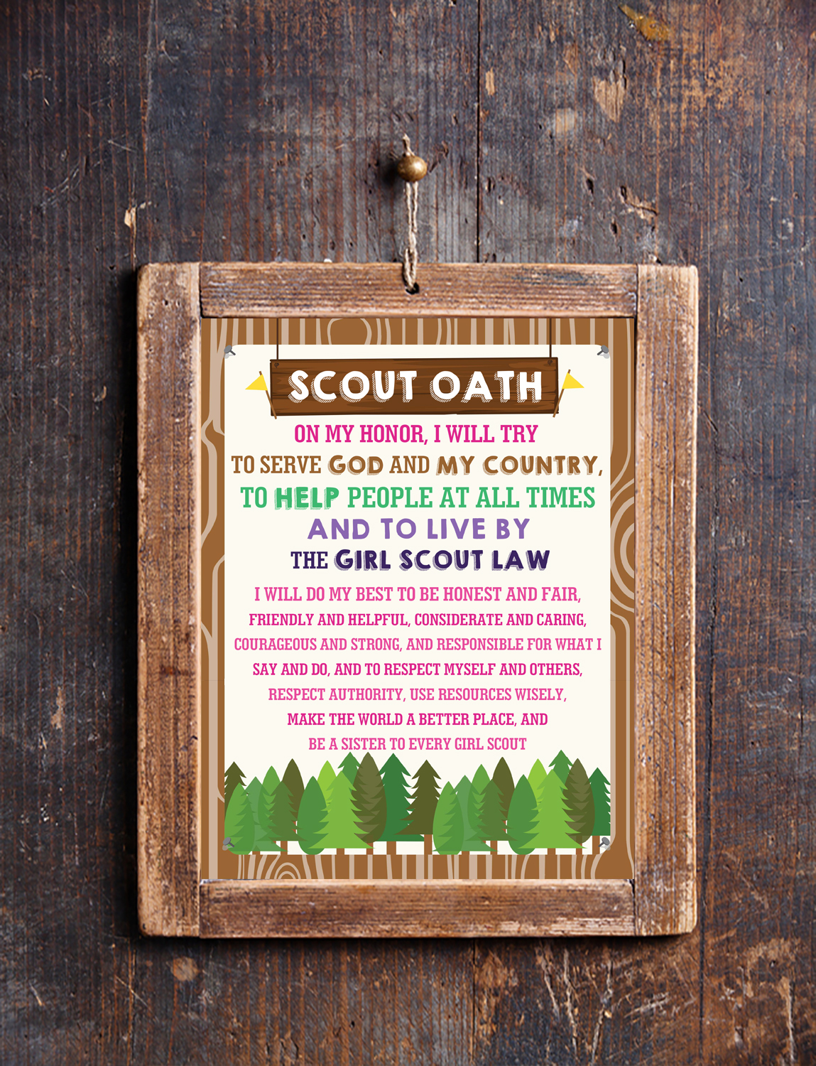 picture regarding Boy Scout Oath and Law Printable titled Boy Scout and Lady Scout Motto Oath Regulation Posters Printables