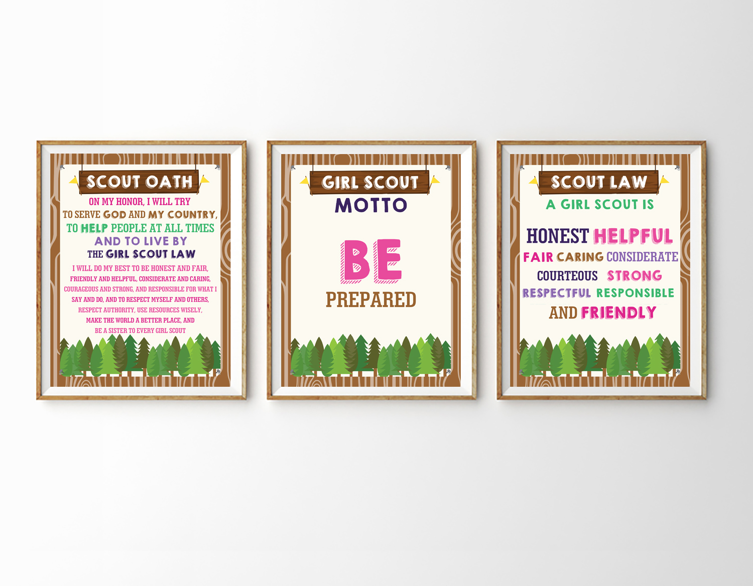 graphic regarding Boy Scout Oath and Law Printable named Boy Scout and Female Scout Motto Oath Regulation Posters Printables