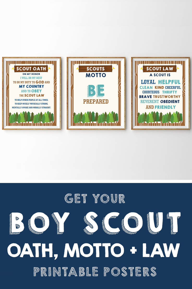 picture regarding Boy Scout Law Printable known as Boy Scout and Lady Scout Motto Oath Legislation Posters Printables
